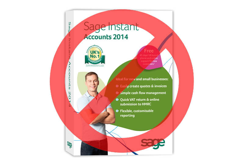 Sage instant accounts box with cross over