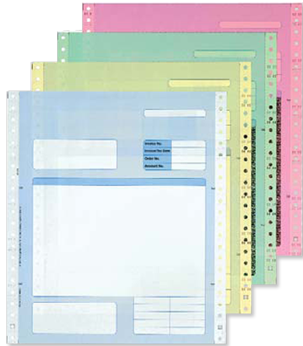 Sage Invoice Delivery Note - 4 Copies in Blue, Yellow, Green and Red