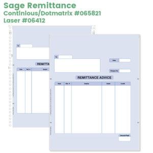 Sage remittance advice for laser or dotmatrix printers